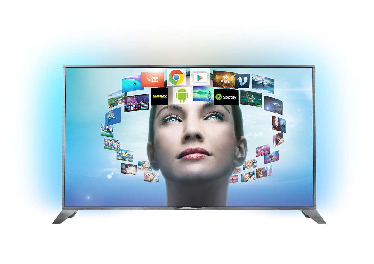 Televisor 4K UHD ultra fino com sistema Android