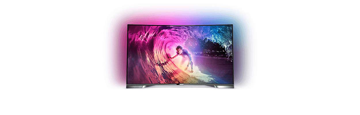 Kaareva 4K UHD-LED-TV, jossa on Android-järjestelmä