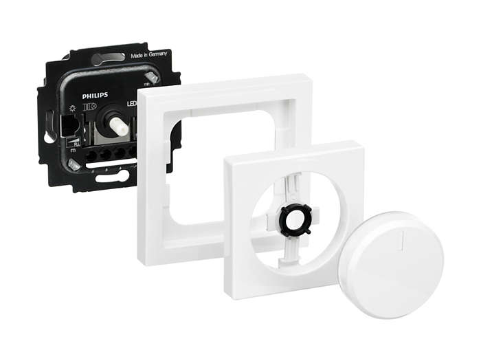 Philips Lighting dimmers (UID86xx) always consist of an insert, an outer frame, an inner frame and a rotary knob. The insert is suited for mounting in a standardized DIN 49073-1 flush-mounted socket.