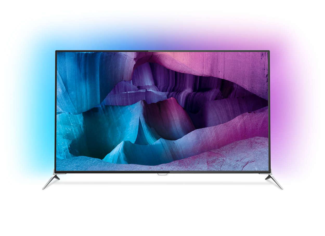 4K UHD тънък LED телевизор, работещ под Android
