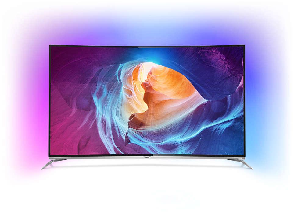 Kaareva 4K-LED-TV ja Android-käyttöjärjestelmä