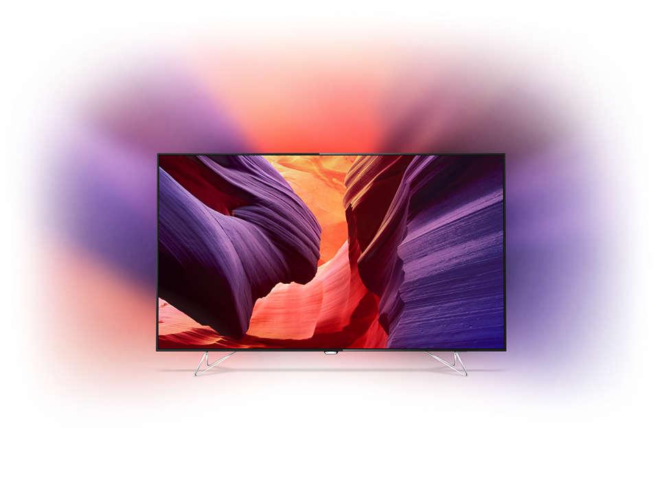 LED-TV tunn som ett rakblad med 4K och Android TV
