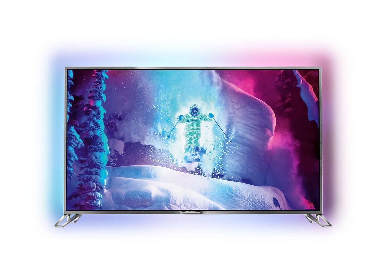 Televisor LED 4K UHD ultra fino com sistema Android