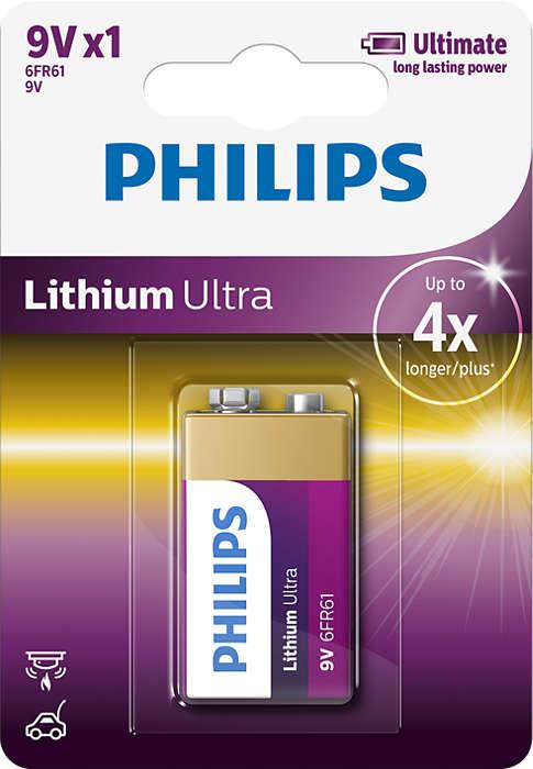 Räcker 4x längre än alkaliska batterier