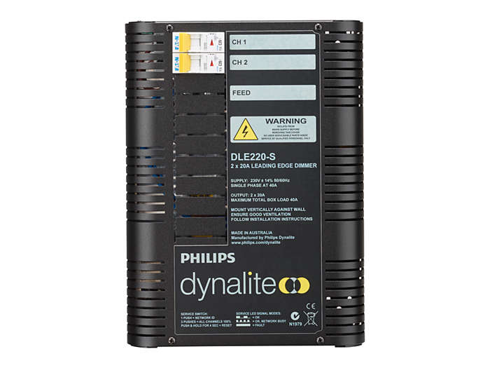 Front of the DLE220-S 2 x 20A Leading Edge Dimmer Controller