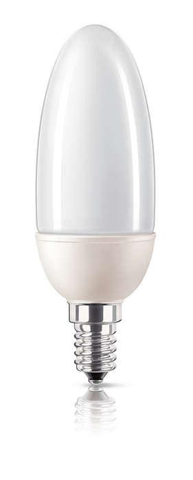Energibesparende øjeblikkeligt lys i stearinlysdesign