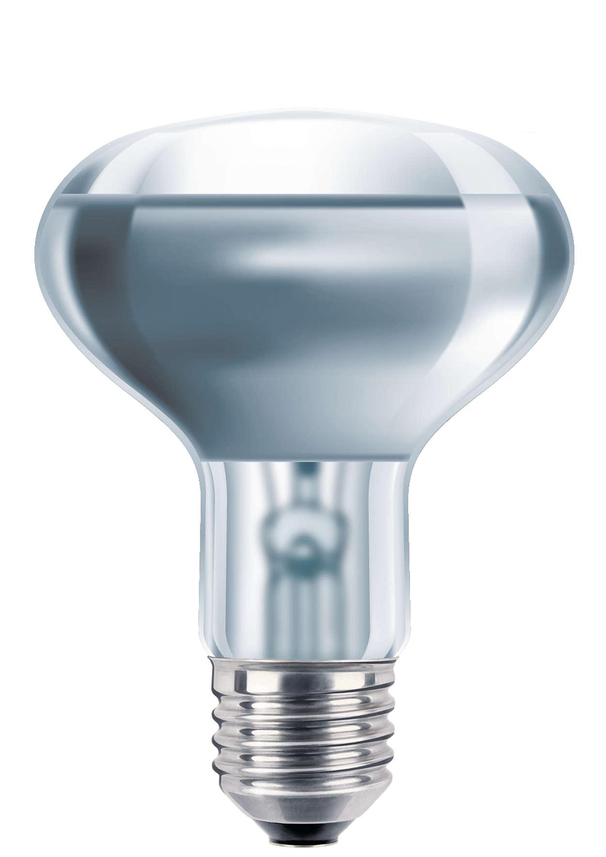 Reflektor i farvet presset glas
