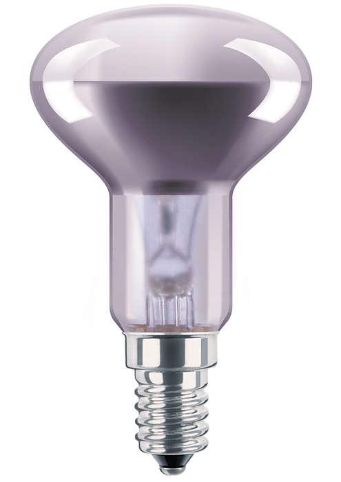Reflektorlampe med glasslyspære i neodym