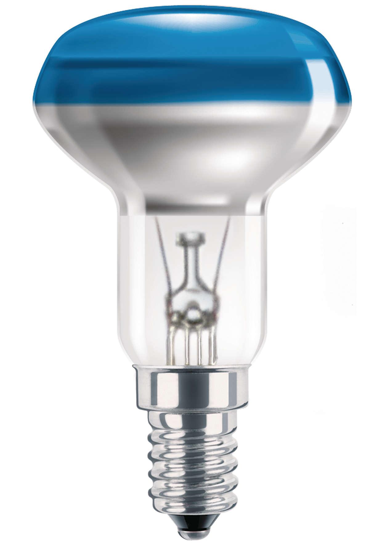 Lâmpadas incandescentes coloridas com revestimento superior