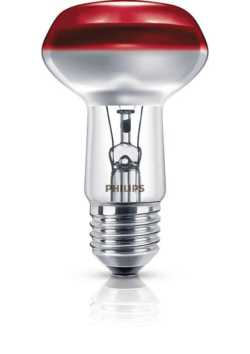 Reflektorová žiarovka sfarebným povrchom