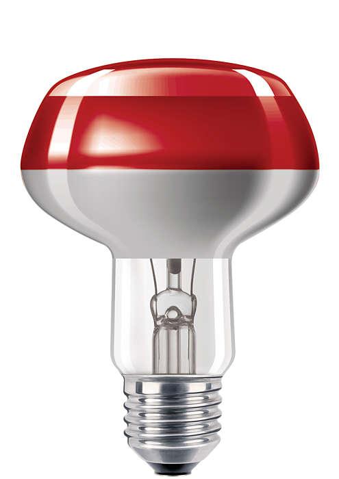 Gekleurde gloeilampen met superieure coating