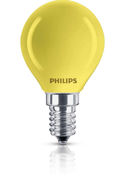 Reflektorlampe med belegg i en rekke farger