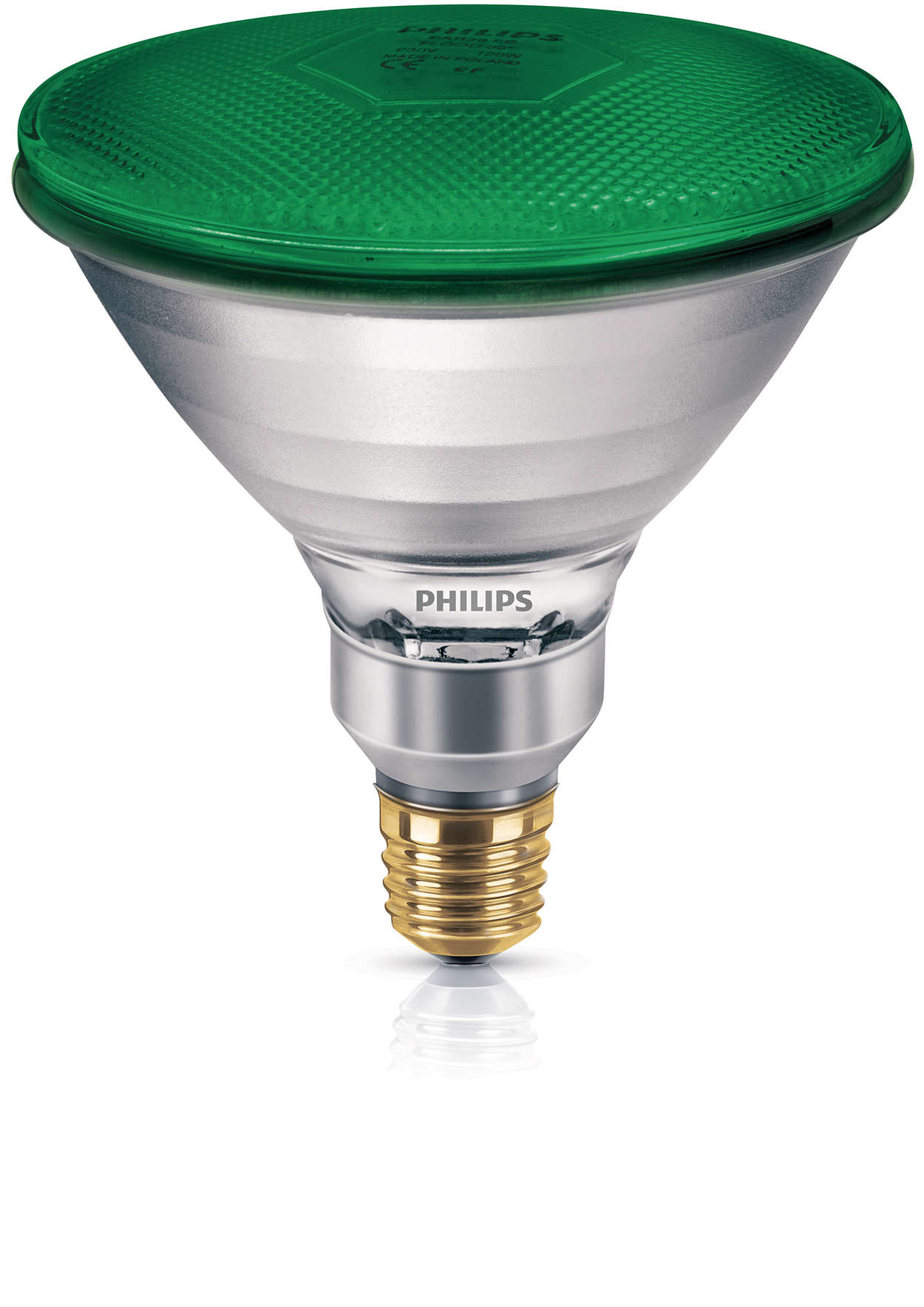 Farget reflektorlyskilde i pressglass