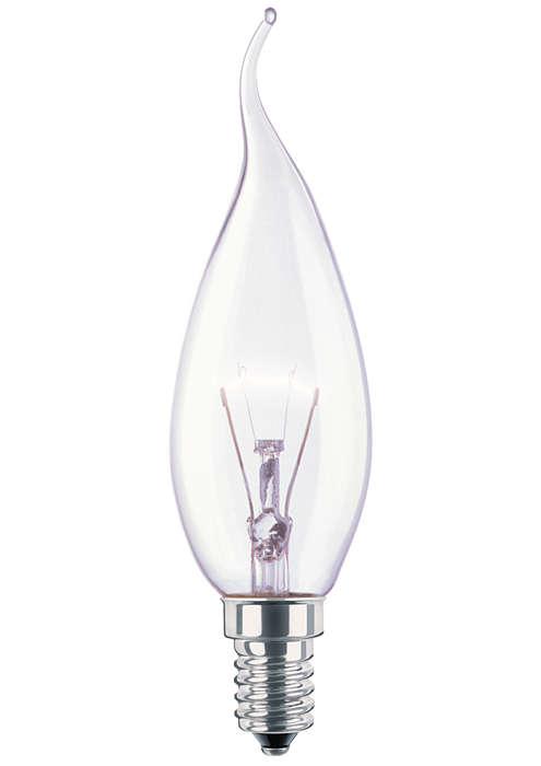 Spesiell, dekorativ, flammeformet lyskildefasong