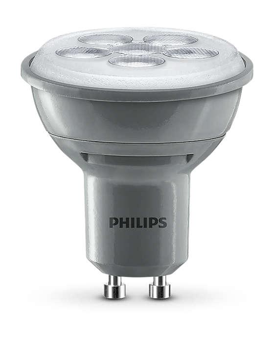 Hållbar punktbelysning med klart, riktat ljus