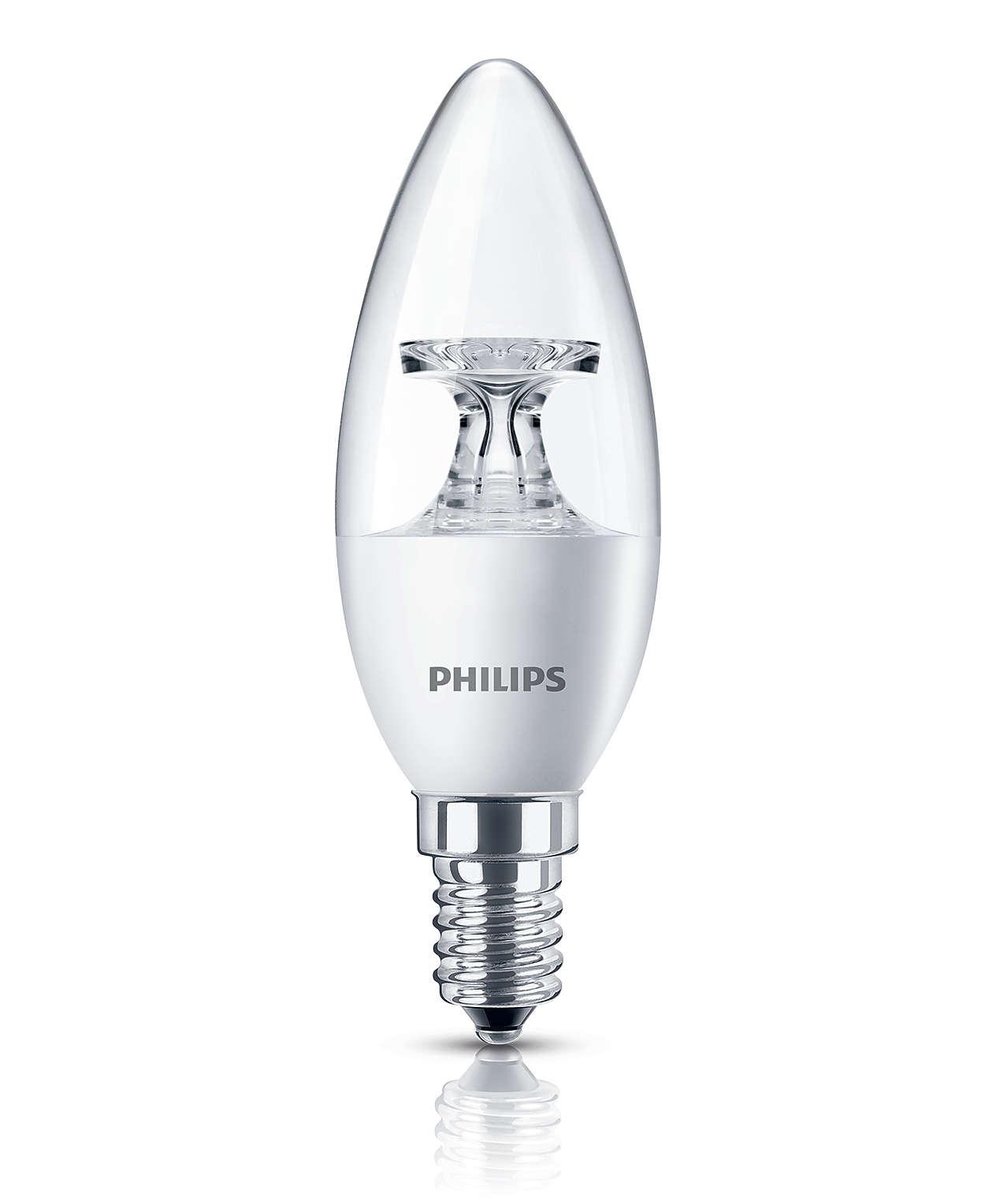 Прозрачная свечевидная светодиодная лампа, приятный сияющий свет