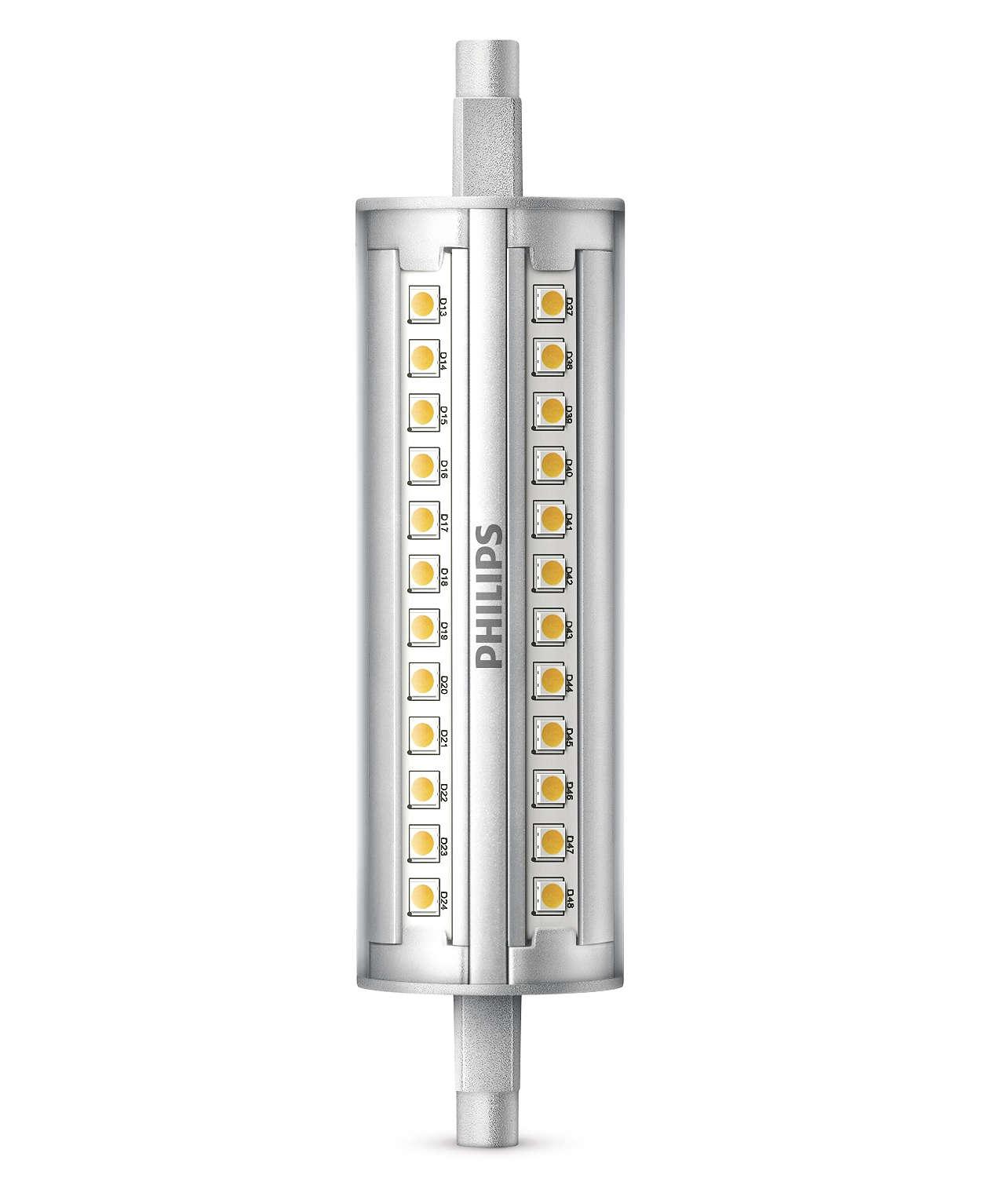 Himmennettävä lineaarinen LED-valo, jossa 300 asteen valokeila