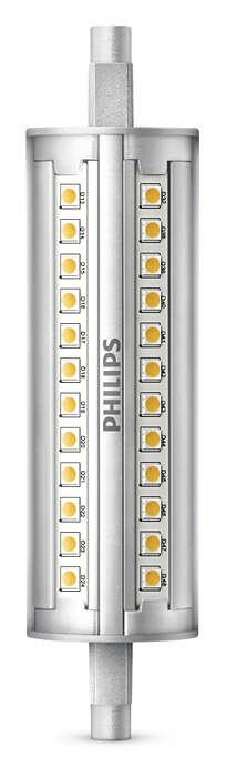Luz LED linear de intensidade regulável com um feixe de 300 graus