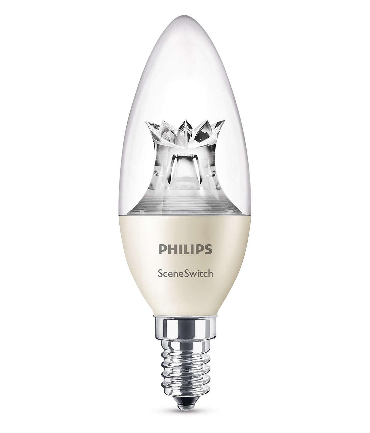 En kronlampa, tre ljusinställningar