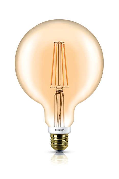O benefício de LED com um visual retrô familiar