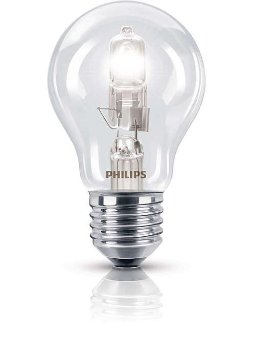 Lâmpada em halogéneo brilhante num formato familiar