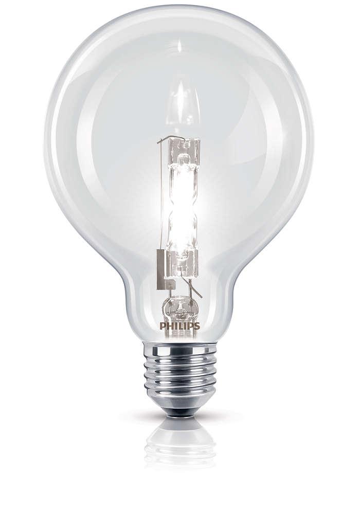 Żarówka halogenowa o klasycznym kształcie, skrzące się światło