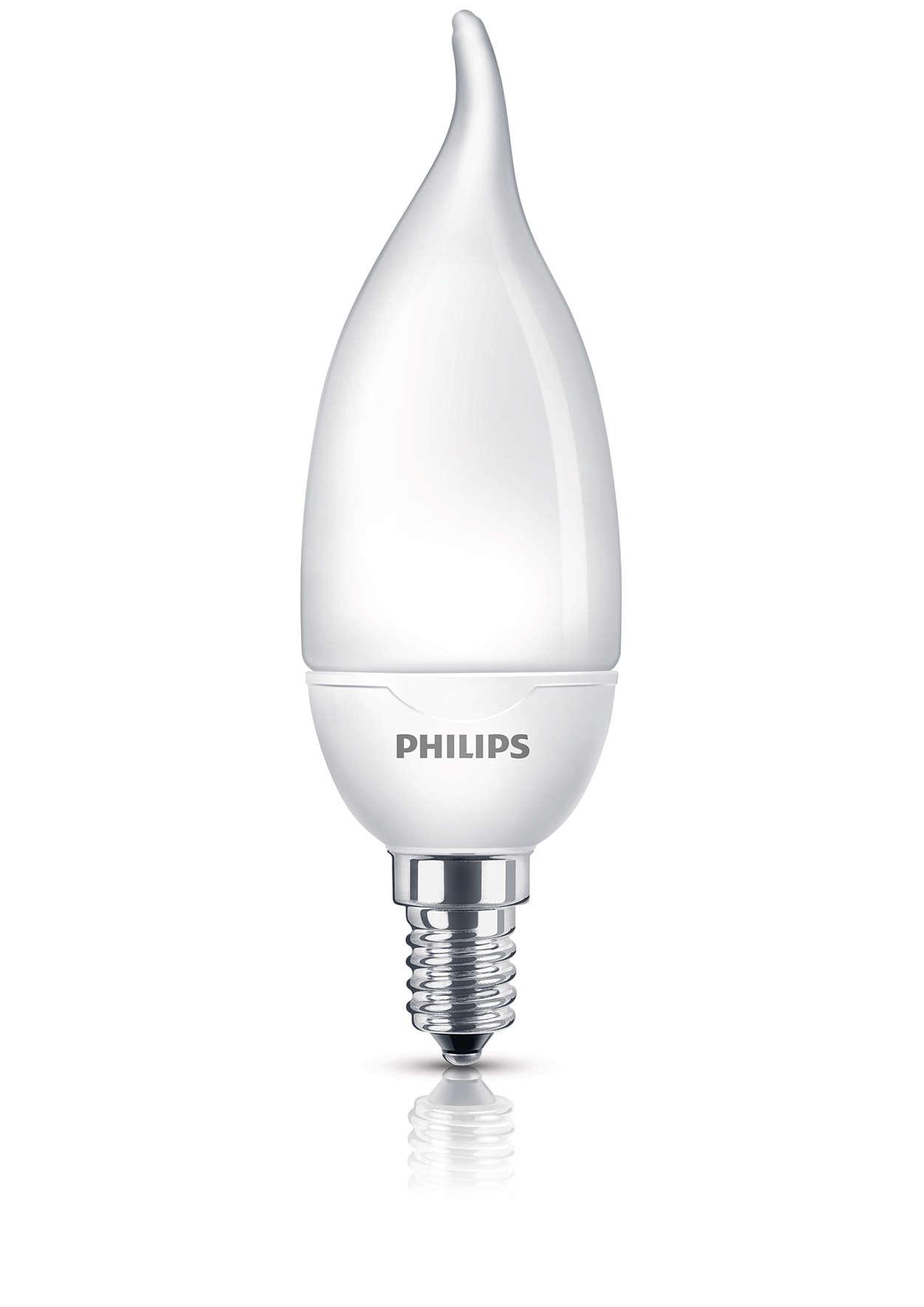 Mjukt och behagligt ljus från en energibesparande lampa
