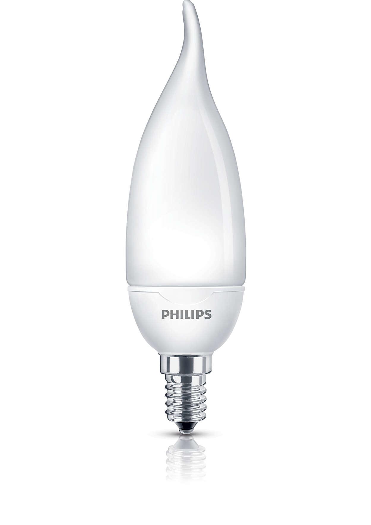Luce soffusa e delicata in una lampadina a risparmio energetico