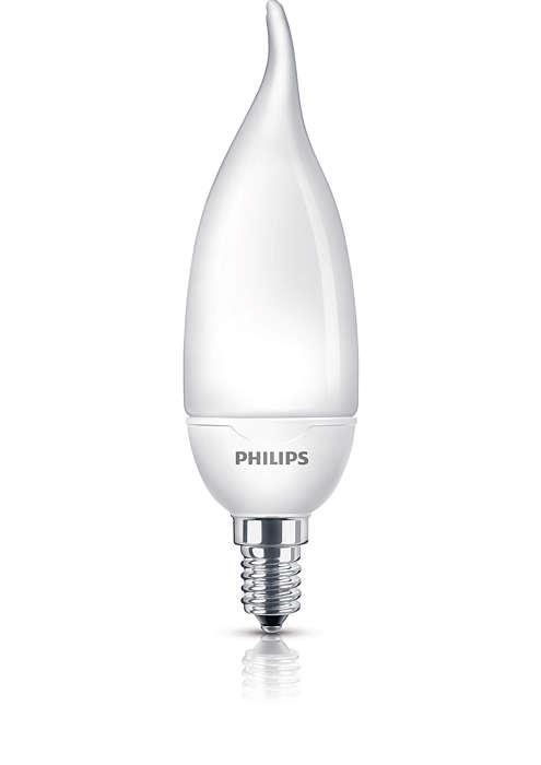 Luz suave e delicada numa lâmpada economizadora