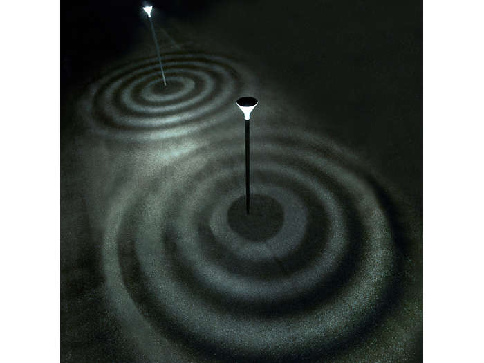 Unique, innovative lighting effect of circles on the ground, creating a modern look