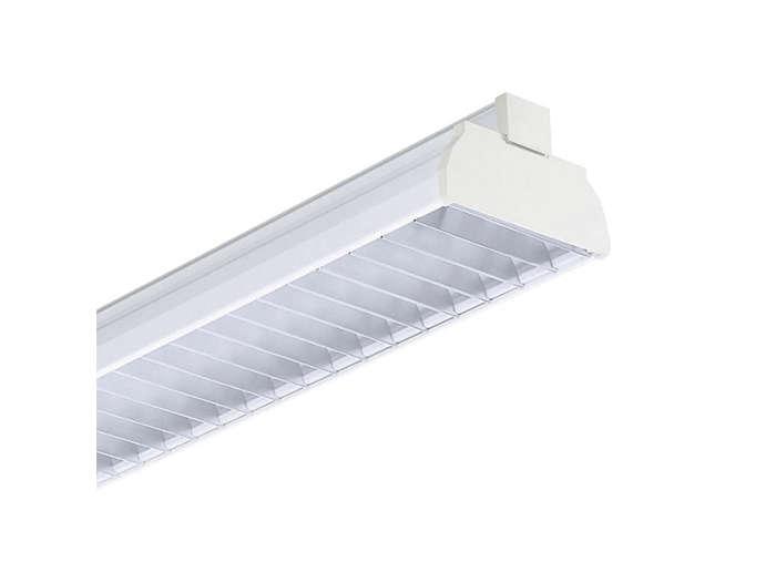GMX450 TL-D multi-purpose reflector(s) and GGX450 matt standard-quality aluminum parabolic cross-lamellae louver (M5), to be ordered separatley