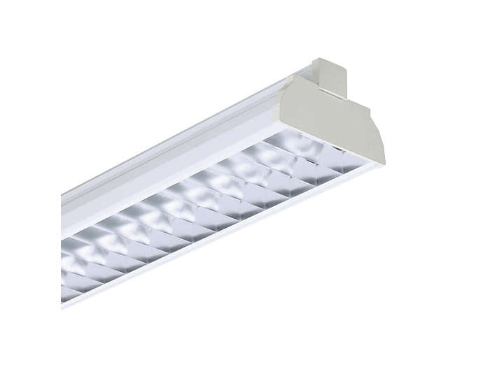 GMX450 TL-D multi-purpose reflector(s) and GGX450 OLC semi-high-gloss high-quality aluminum optic with 3D lamellae louver (D6), to be ordered separatley