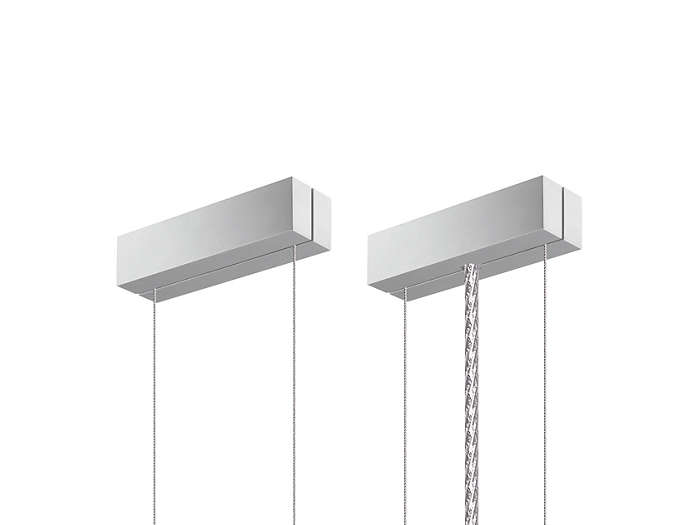SMS suspensionDouble-steel-wire suspension set with ceiling fixation and ceiling caps. A metal-like power cord is included. Delivered along with the rectangular luminaire versions.