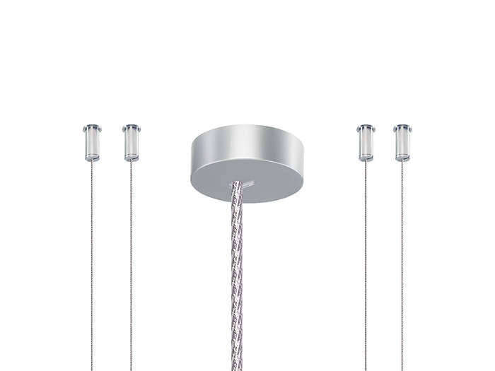 SM4 suspensionSet of four single-steel-wire suspensions with ceiling fixation. A separate ceiling cap is included for the metal-like power cord. The set is delivered along with the square luminaire versions.