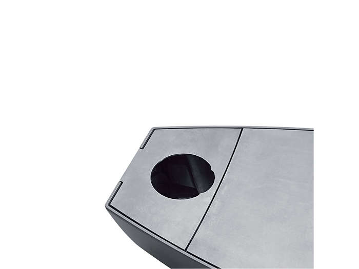 For post-top installations, 76 mm:The opening is fully open and the round, moon-shaped baffles are pivoted inside the luminaire.