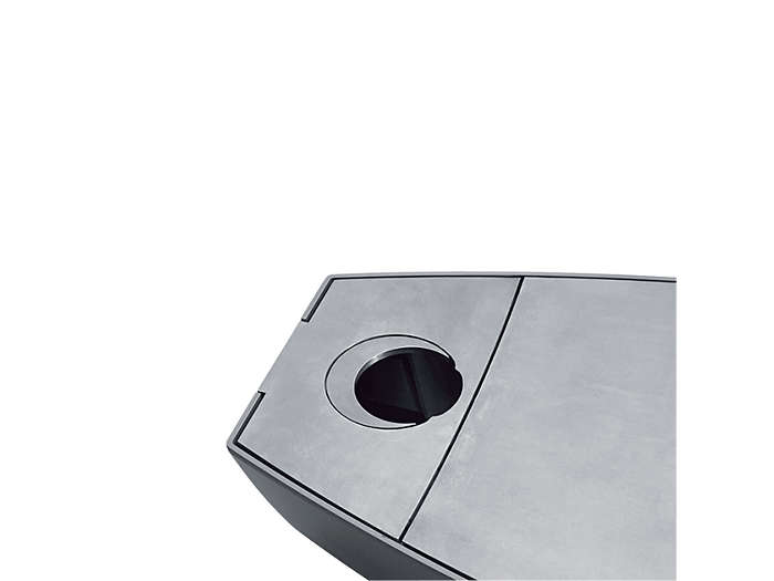 Post-top installation, 60mm:The round baffle is pivoted inside the luminaire. The moon-shaped baffle closes the rest of the opening and the surface of the luminaire is totally flush.