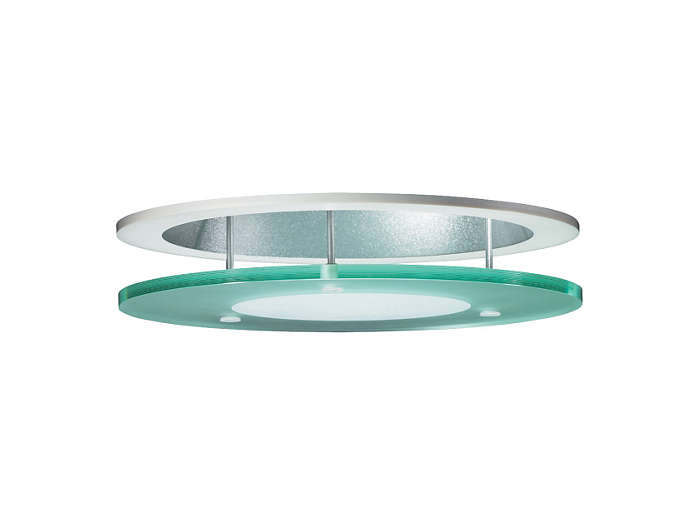 Glass disk with frosted inner part in suspended position