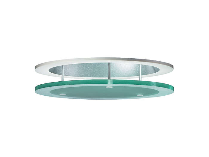 Frosted-glass halo ring in suspended position