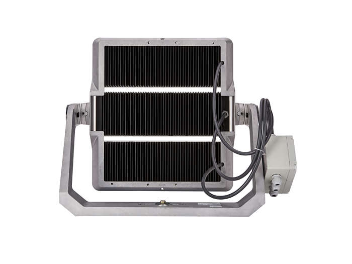 Rear view of BVP520 floodlight with heat sink for thermal management