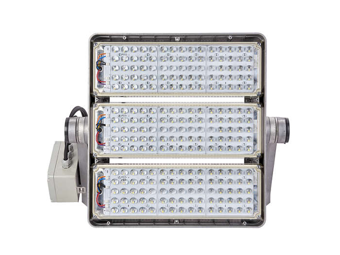 Front view of BVP520 floodlight with light modules built-in and A-NB optic