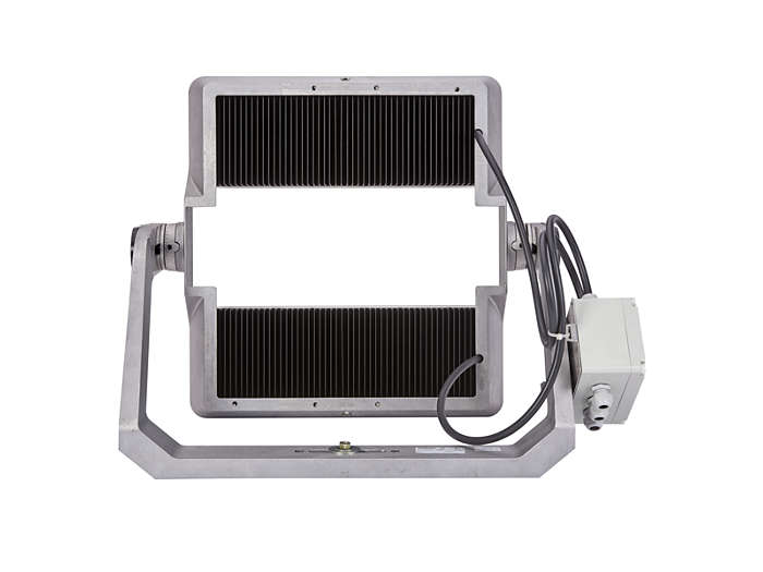 Rear view of BVP510 floodlight with heat sink for thermal management