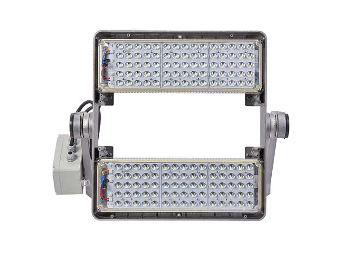 Front view of BVP510 floodlight with light modules built-in and S4 optic