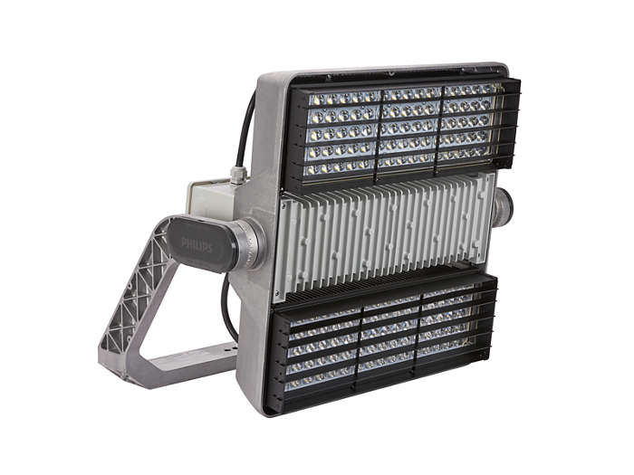 OptiVision LED BVP520 food-lighting luminaire with external zero candela louver for asymmetreical optics, 90º