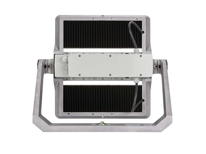 Rear view of BVP500 floodlight with heat sink for thermal management