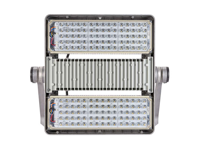 Front view of BVP500 floodlight with light modules built-in and A-WB optic