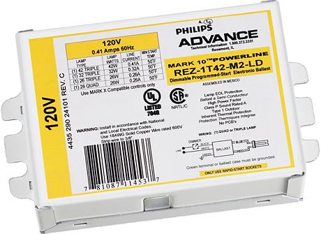 MARK 10 POWERLINE ELE DIM BALLAST (1) 42W CFL (4-PIN) 120V