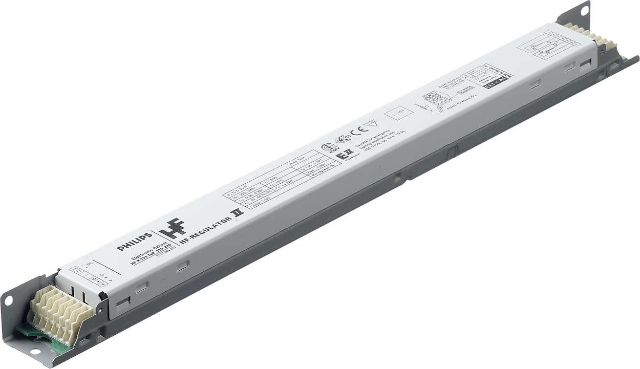 제품 설명• PL-L 형광램프용 1-10V 프로토콜을 사용하는 경량의 평면 고주파 전자식안정기