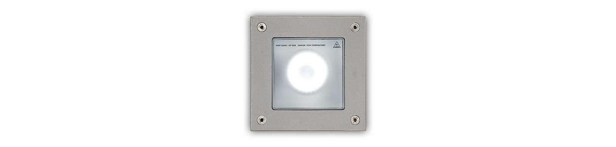 Luminaire haute résistance à encastrer pour usage extérieur