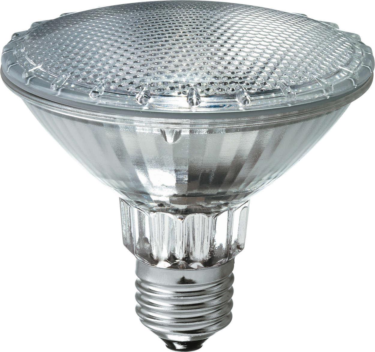 Создает пятно четкого белого света и становится современной альтернативой обычным отражающим лампам