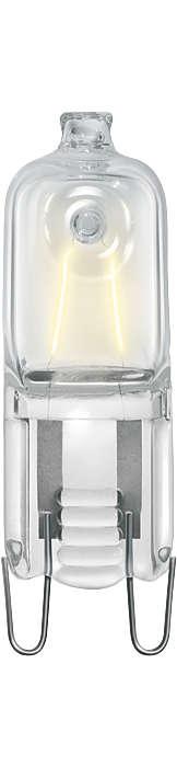 Nová halogenová žárovka napájená z elektrické sítě. Kompaktní světelný zdroj se zářivým bílým světlem